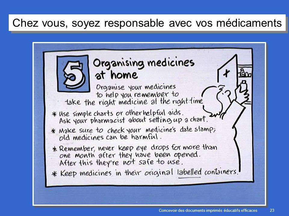 Concevoir des documents imprimés éducatifs efficaces23 Chez vous, soyez responsable avec vos médicaments