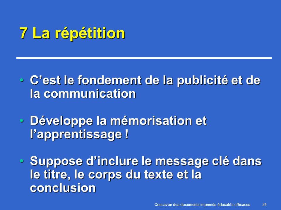 Concevoir des documents imprimés éducatifs efficaces24 7 La répétition Cest le fondement de la publicité et de la communicationCest le fondement de la