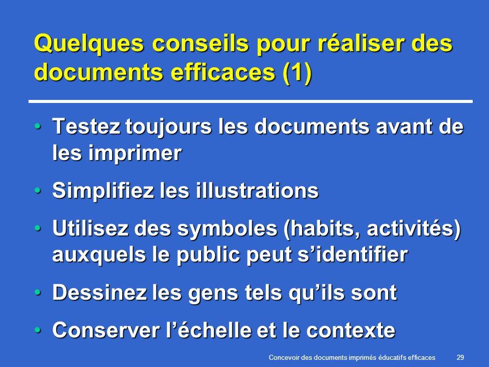 Concevoir des documents imprimés éducatifs efficaces29 Quelques conseils pour réaliser des documents efficaces (1) Testez toujours les documents avant