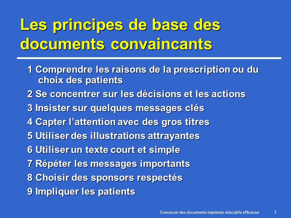 Concevoir des documents imprimés éducatifs efficaces3 Les principes de base des documents convaincants 1 Comprendre les raisons de la prescription ou