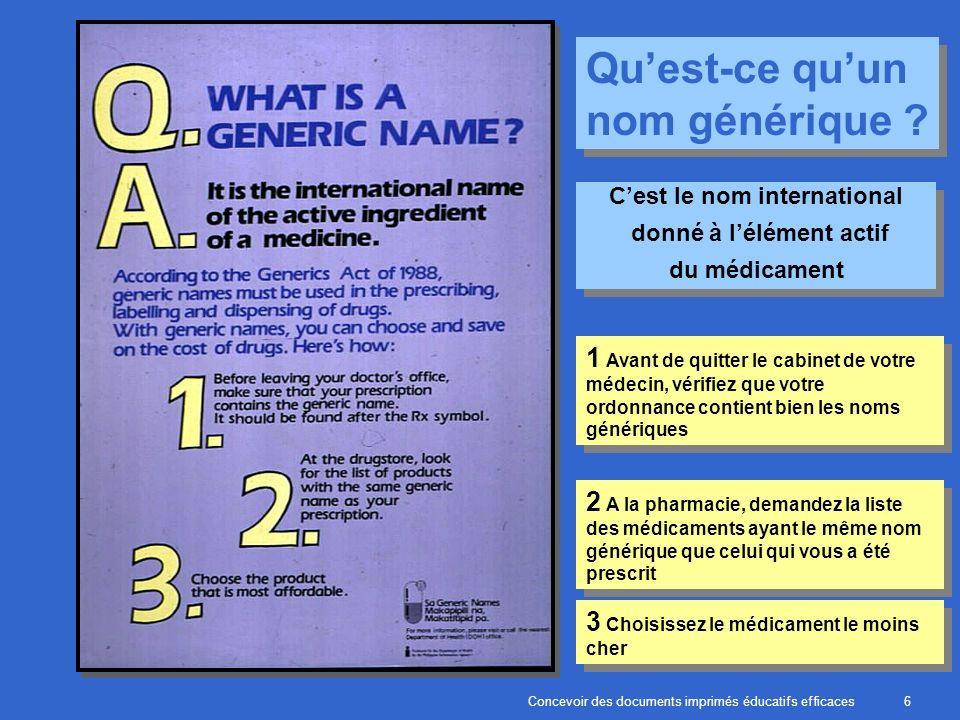 Concevoir des documents imprimés éducatifs efficaces6 Cest le nom international donné à lélément actif du médicament Cest le nom international donné à lélément actif du médicament Quest-ce quun nom générique .