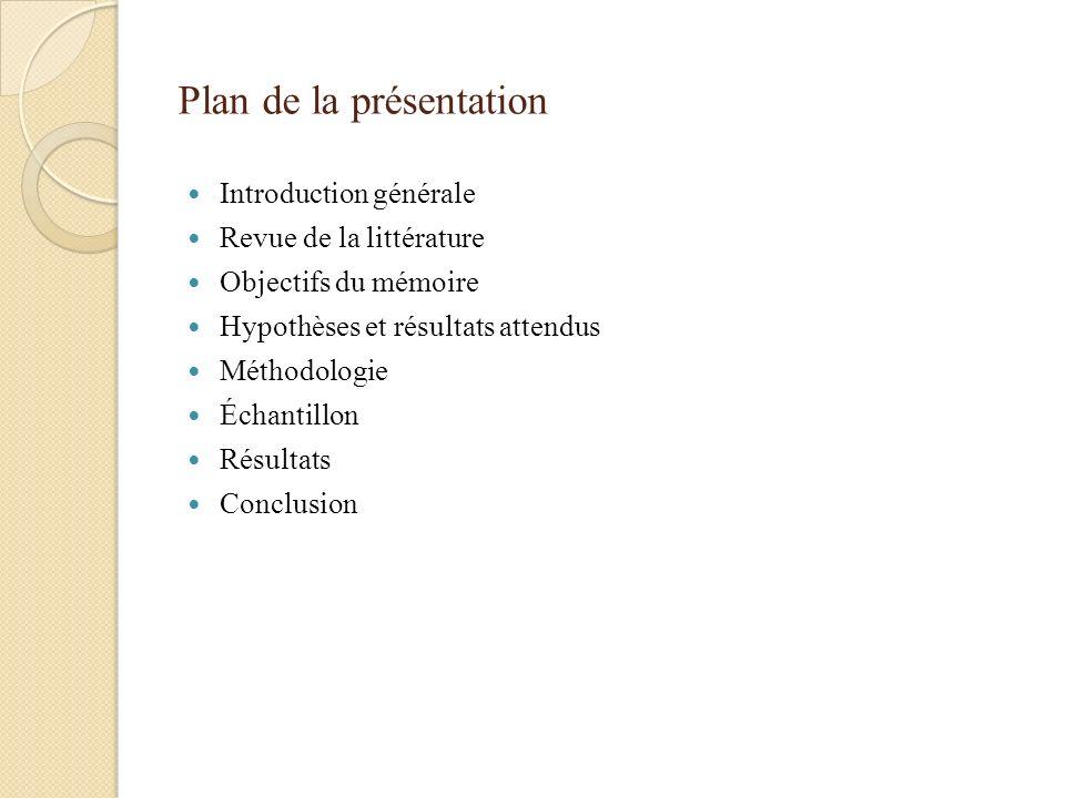 Plan de la présentation Introduction générale Revue de la littérature Objectifs du mémoire Hypothèses et résultats attendus Méthodologie Échantillon R