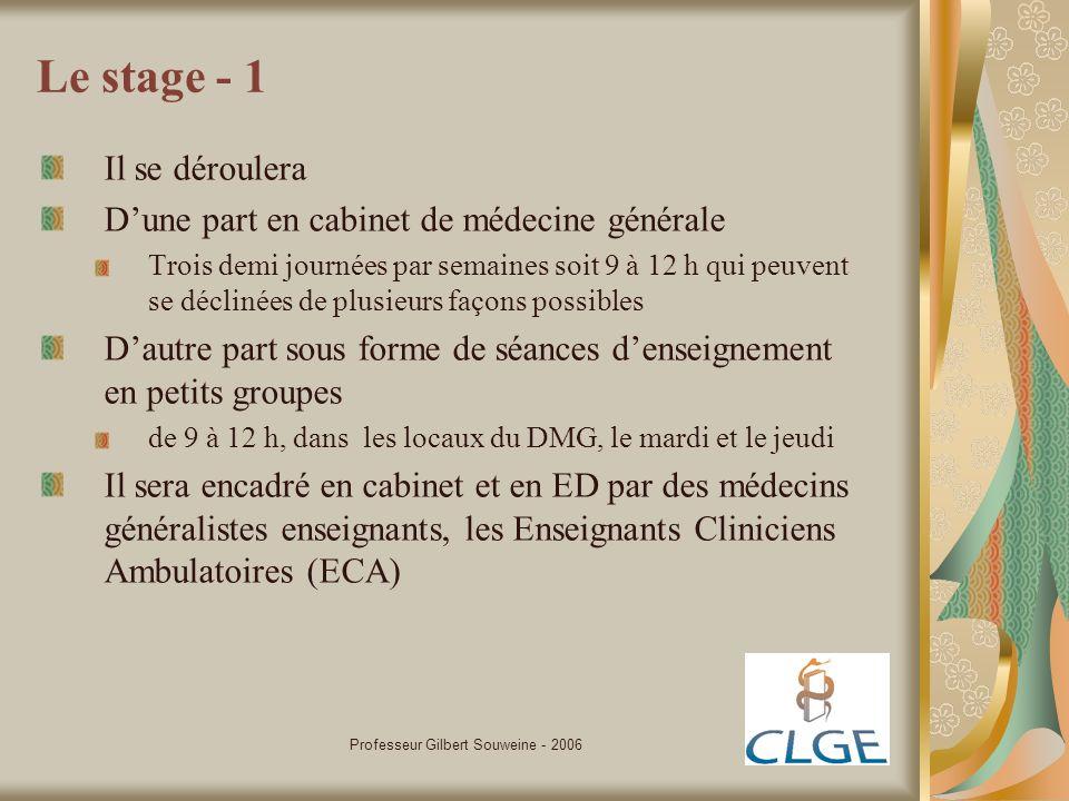 Professeur Gilbert Souweine - 2006 Le stage - 2 Le choix de vous proposer, le plus souvent possible, plusieurs cabinets répond à lobjectif de vous exposer à plusieurs modes dexercice de la discipline Celui de vous proposer des stages «lointains», à celui de vous faire découvrir la pratique de la médecine rurale