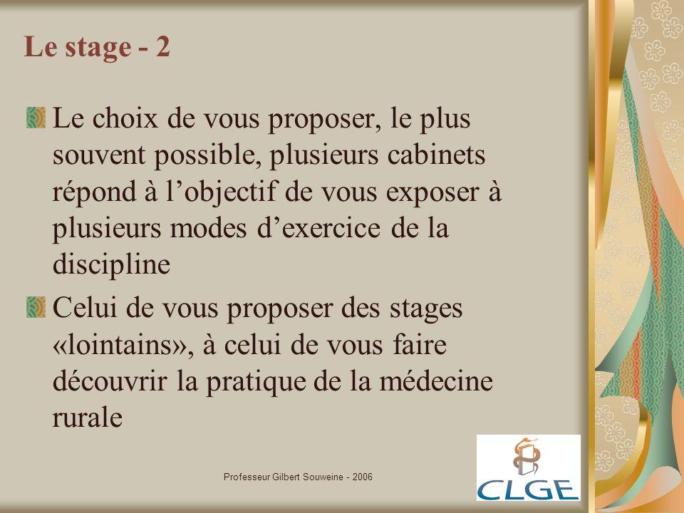 Professeur Gilbert Souweine - 2006 Le stage - 2 Le choix de vous proposer, le plus souvent possible, plusieurs cabinets répond à lobjectif de vous exp