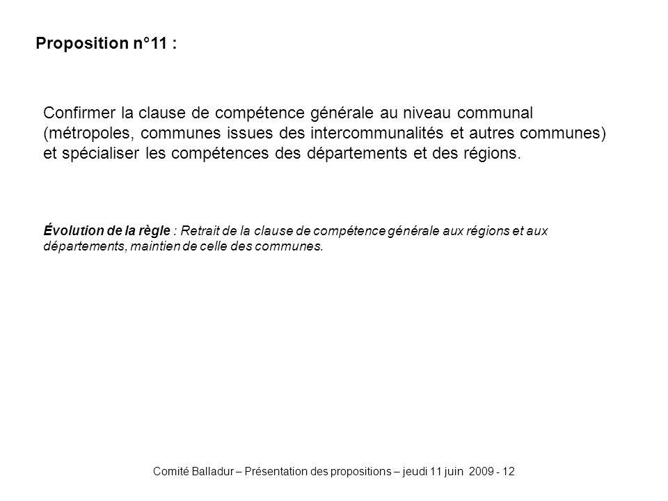 Comité Balladur – Présentation des propositions – jeudi 11 juin 2009 - 12 Proposition n°11 : Confirmer la clause de compétence générale au niveau communal (métropoles, communes issues des intercommunalités et autres communes) et spécialiser les compétences des départements et des régions.