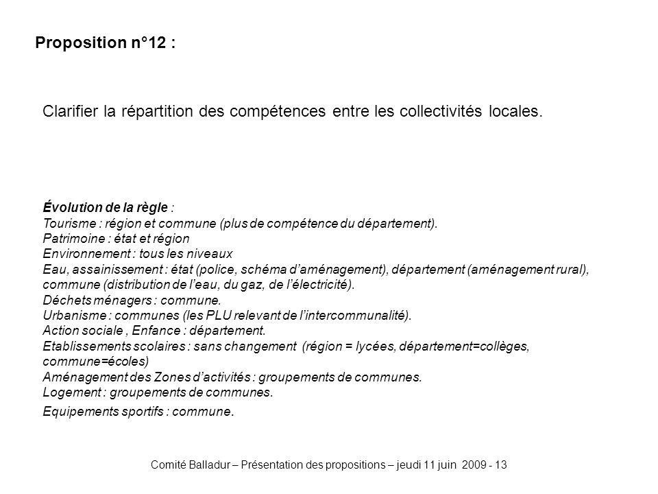 Comité Balladur – Présentation des propositions – jeudi 11 juin 2009 - 13 Proposition n°12 : Clarifier la répartition des compétences entre les collectivités locales.