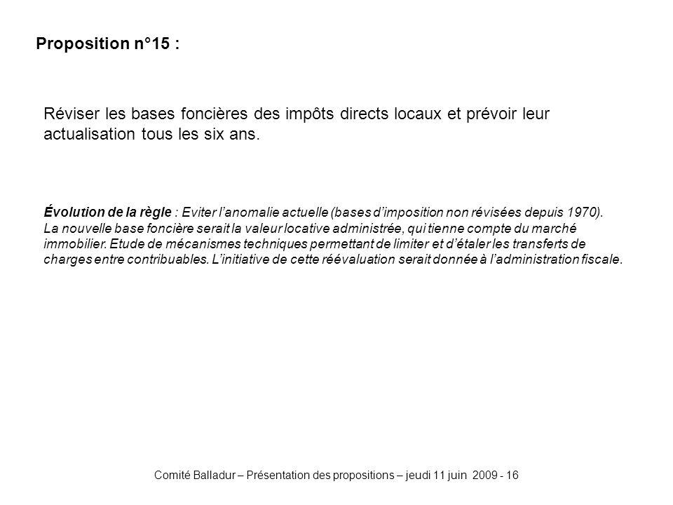 Comité Balladur – Présentation des propositions – jeudi 11 juin 2009 - 16 Proposition n°15 : Réviser les bases foncières des impôts directs locaux et prévoir leur actualisation tous les six ans.