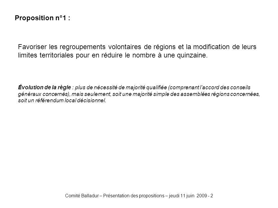 Comité Balladur – Présentation des propositions – jeudi 11 juin 2009 - 2 Proposition n°1 : Favoriser les regroupements volontaires de régions et la modification de leurs limites territoriales pour en réduire le nombre à une quinzaine.