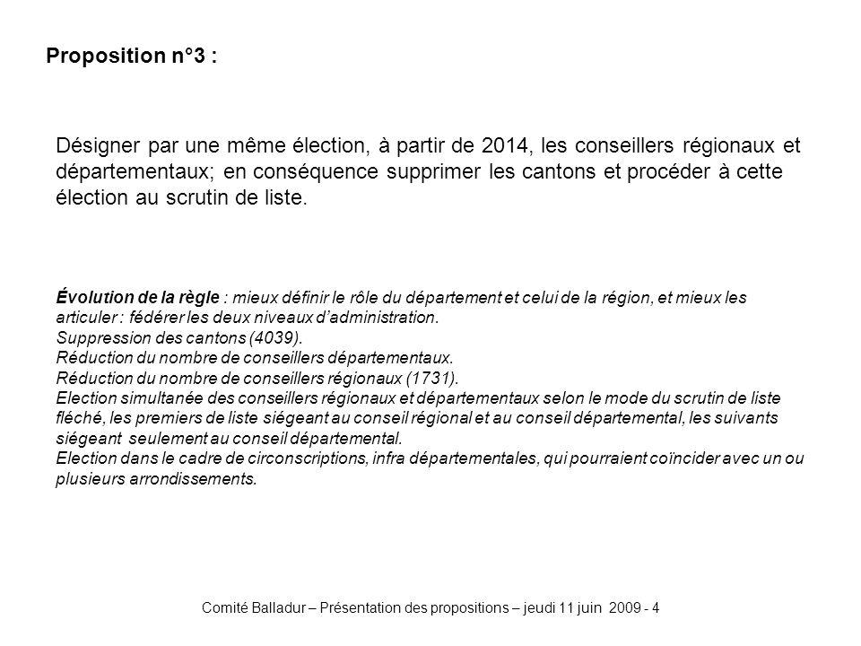 Comité Balladur – Présentation des propositions – jeudi 11 juin 2009 - 4 Proposition n°3 : Désigner par une même élection, à partir de 2014, les conseillers régionaux et départementaux; en conséquence supprimer les cantons et procéder à cette élection au scrutin de liste.