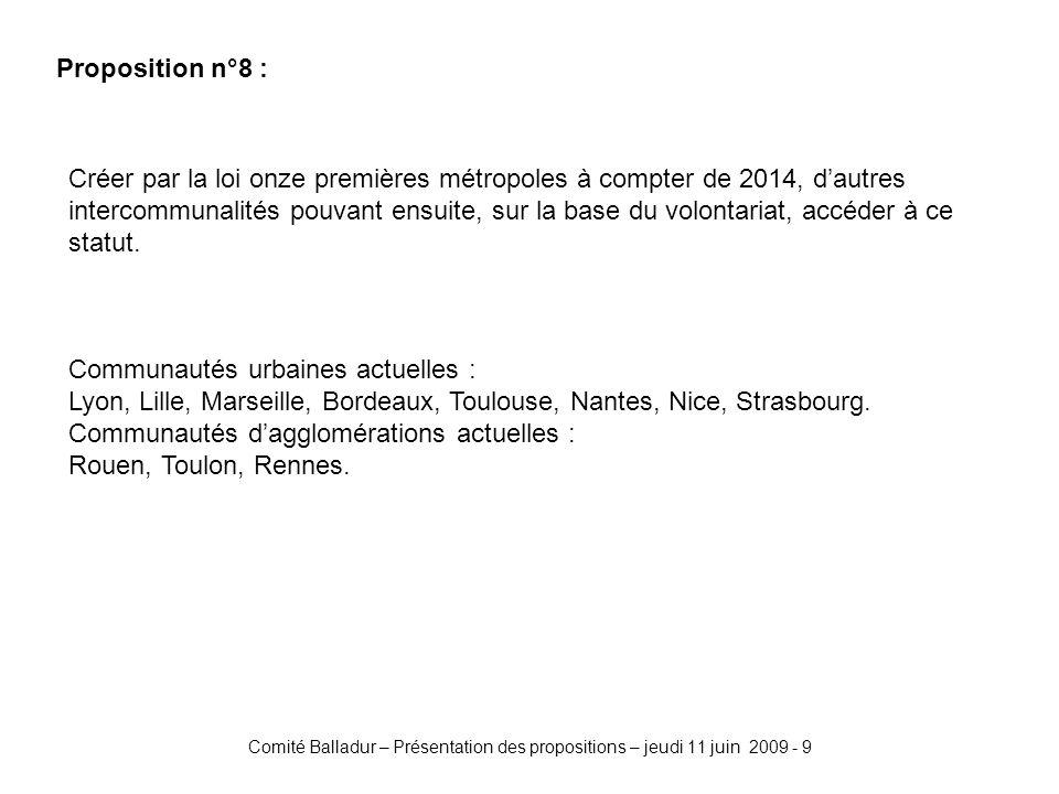 Comité Balladur – Présentation des propositions – jeudi 11 juin 2009 - 9 Proposition n°8 : Créer par la loi onze premières métropoles à compter de 2014, dautres intercommunalités pouvant ensuite, sur la base du volontariat, accéder à ce statut.