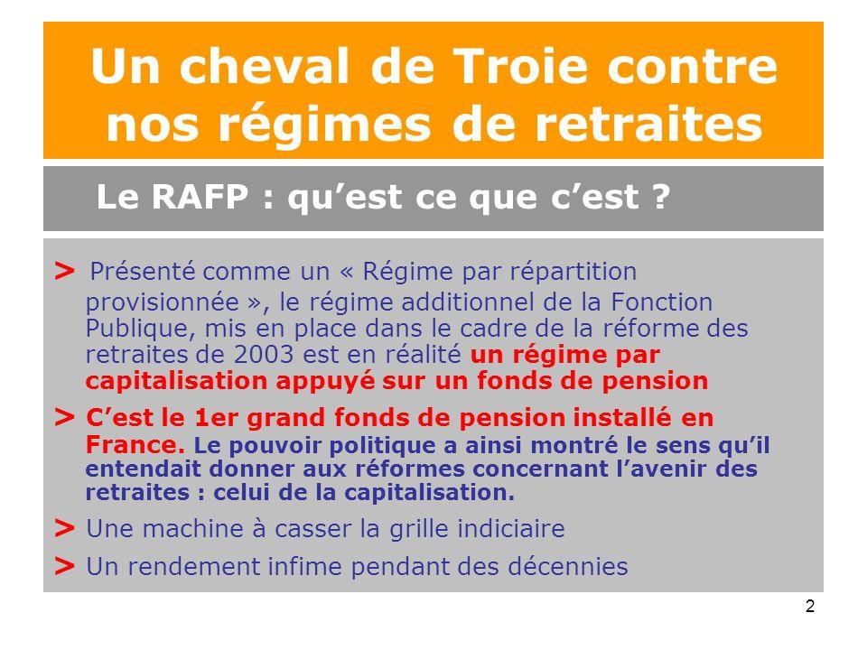 2 Un cheval de Troie contre nos régimes de retraites > Présenté comme un « Régime par répartition provisionnée », le régime additionnel de la Fonction