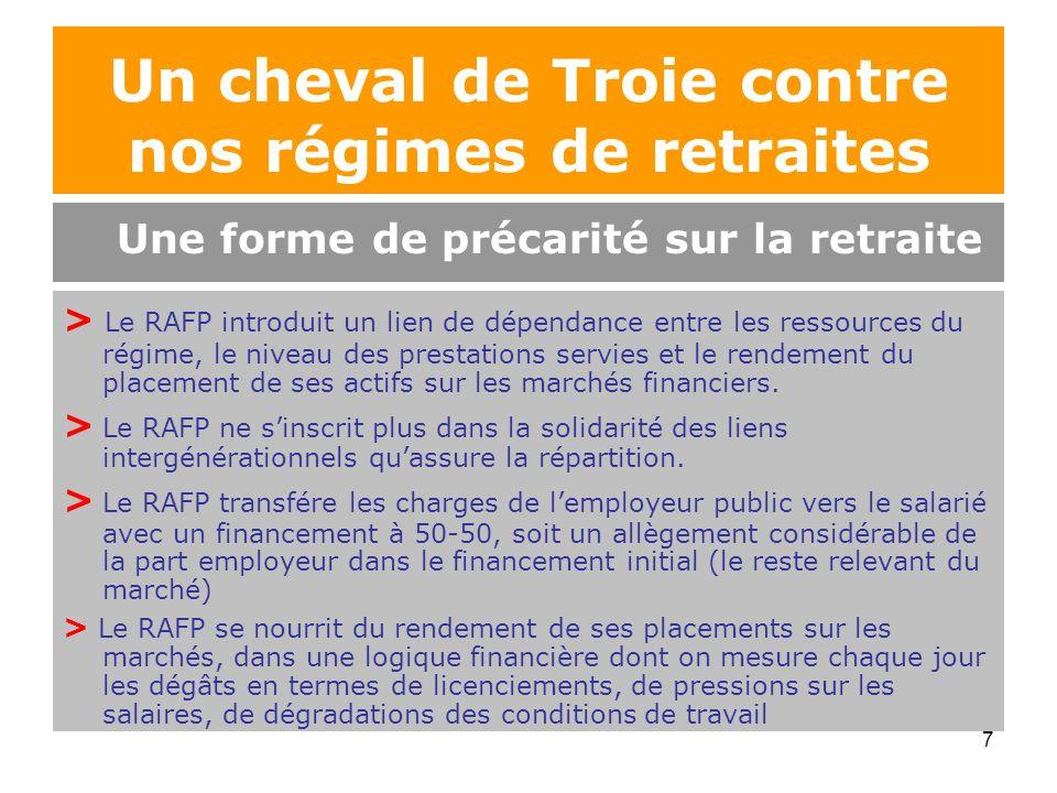 7 > Le RAFP introduit un lien de dépendance entre les ressources du régime, le niveau des prestations servies et le rendement du placement de ses acti