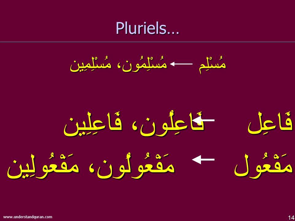 14 www.understandquran.com Pluriels… مُسْلِم مُسْلِمُون، مُسْلِمِين فَاعِل فَاعِلُون، فَاعِلِين مَفْعُول مَفْعُولُون، مَفْعُولِين