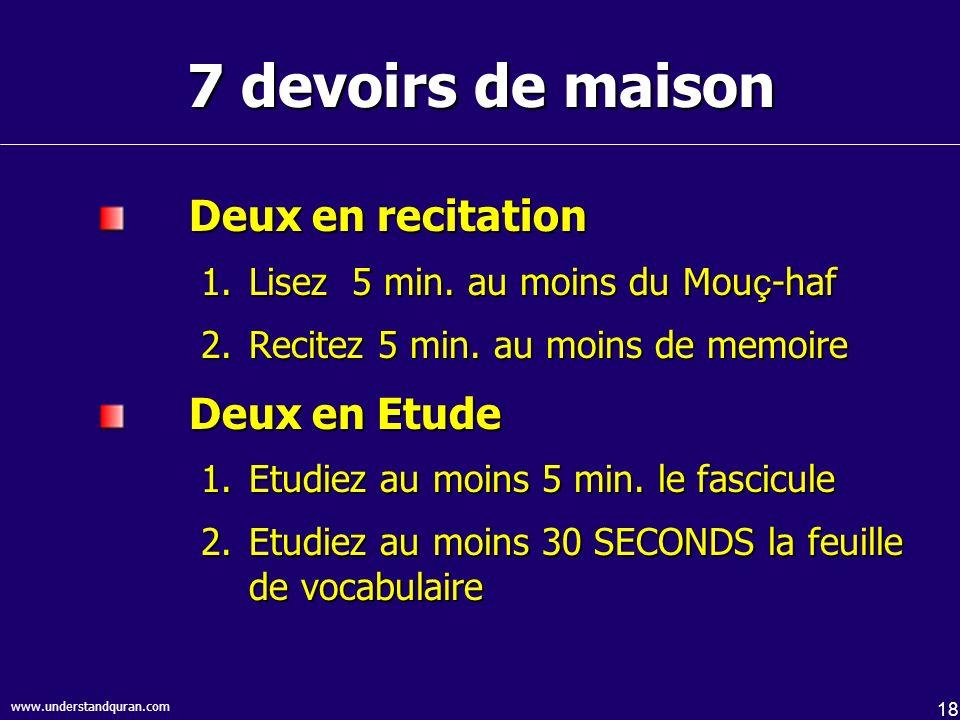 18 7 devoirs de maison Deux en recitation 1.Lisez 5 min. au moins du Mou ç -haf 2.Recitez 5 min. au moins de memoire Deux en Etude 1.Etudiez au moins