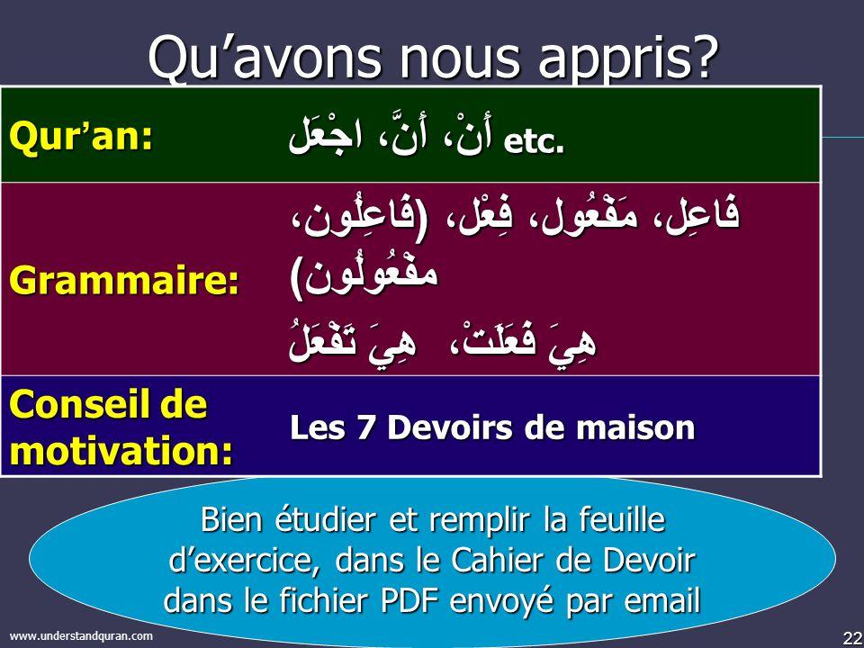 22 www.understandquran.com Quavons nous appris? Bien étudier et remplir la feuille dexercice, dans le Cahier de Devoir dans le fichier PDF envoyé par