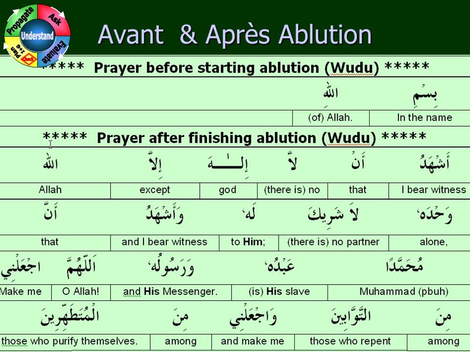 3 www.understandquran.com Avant & Après Ablution Memorize the meanings of each word thoroughly.