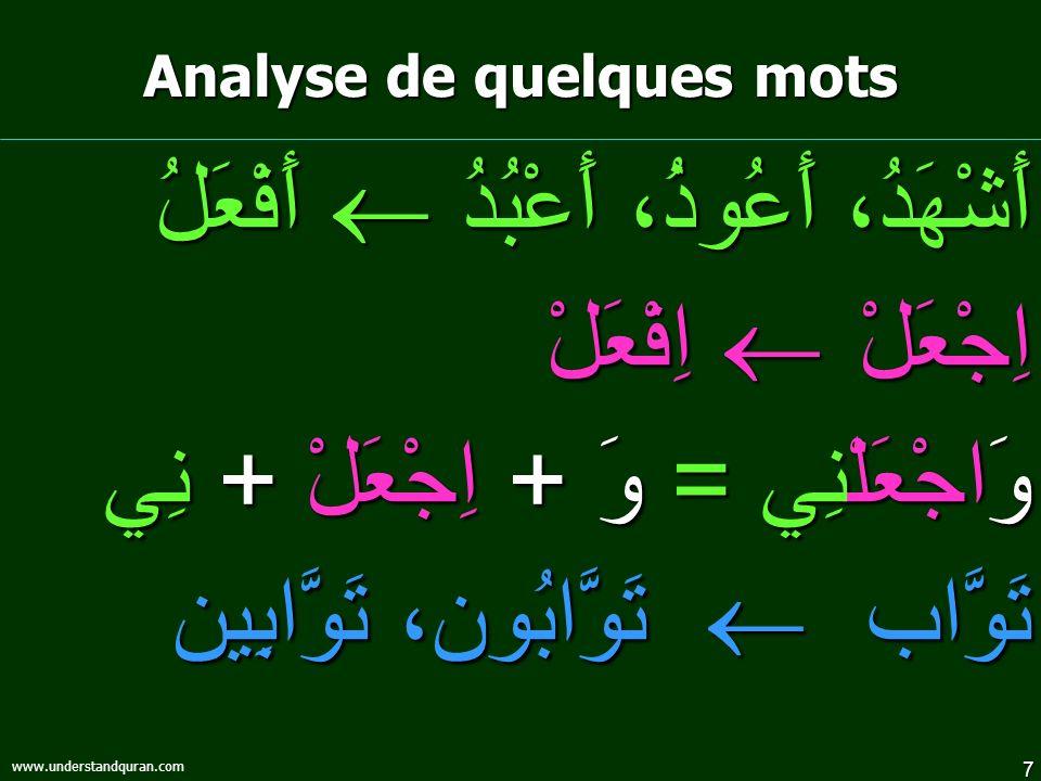 8 www.understandquran.com تَابَ : revenir تَائِب : celui qui revient تَوَّاب : qui revient souvent Allah esclave Analyse de quelques mots