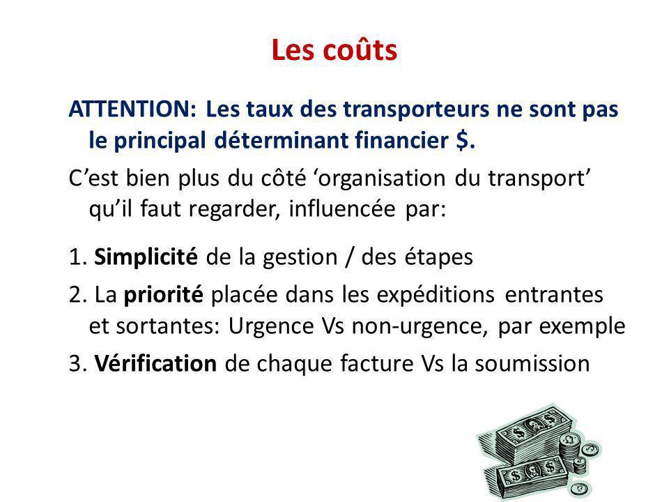 Les coûts ATTENTION: Les taux des transporteurs ne sont pas le principal déterminant financier $. Cest bien plus du côté organisation du transport qui