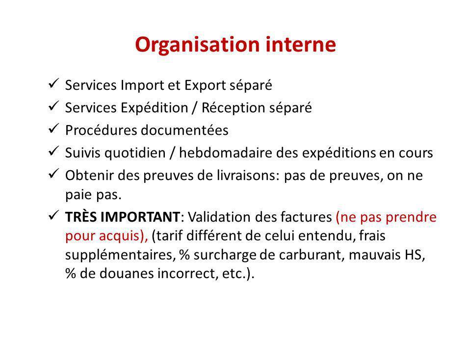 Organisation interne Services Import et Export séparé Services Expédition / Réception séparé Procédures documentées Suivis quotidien / hebdomadaire de
