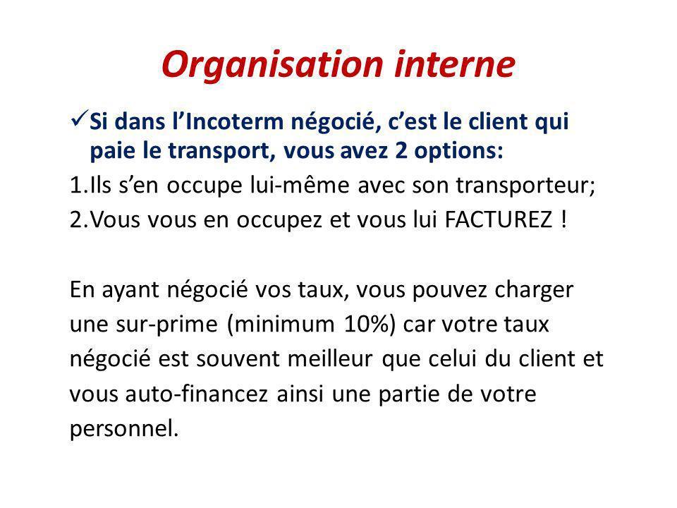 Organisation interne Si dans lIncoterm négocié, cest le client qui paie le transport, vous avez 2 options: 1.Ils sen occupe lui-même avec son transpor