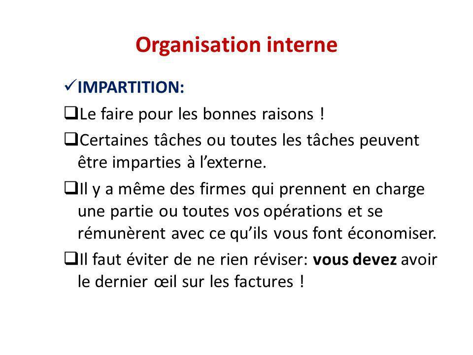 Organisation interne IMPARTITION: Le faire pour les bonnes raisons ! Certaines tâches ou toutes les tâches peuvent être imparties à lexterne. Il y a m