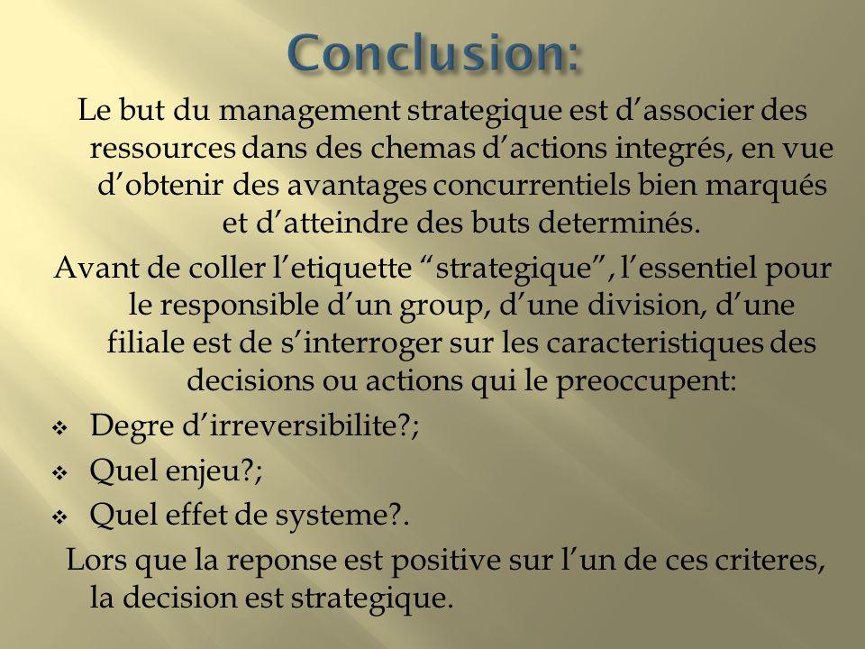 Le but du management strategique est dassocier des ressources dans des chemas dactions integrés, en vue dobtenir des avantages concurrentiels bien mar