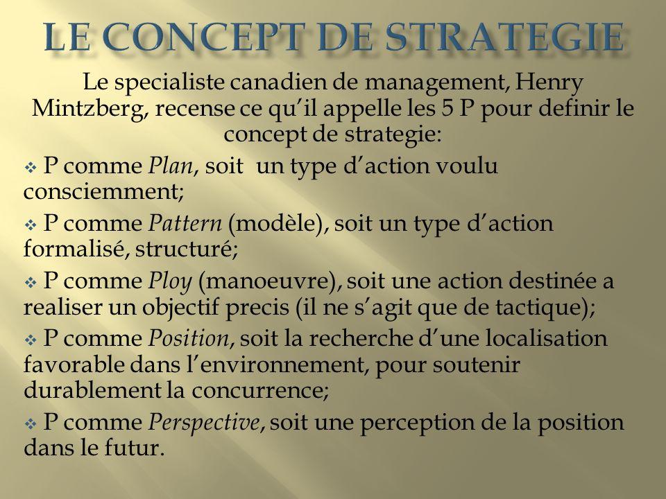 Le specialiste canadien de management, Henry Mintzberg, recense ce quil appelle les 5 P pour definir le concept de strategie: P comme Plan, soit un ty