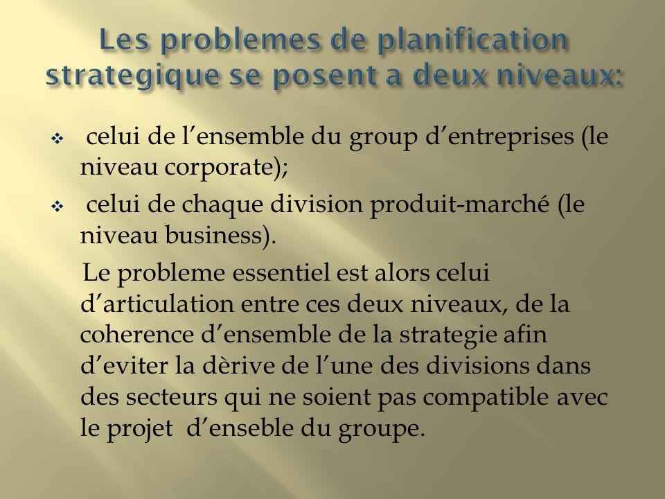celui de lensemble du group dentreprises (le niveau corporate); celui de chaque division produit-marché (le niveau business). Le probleme essentiel es