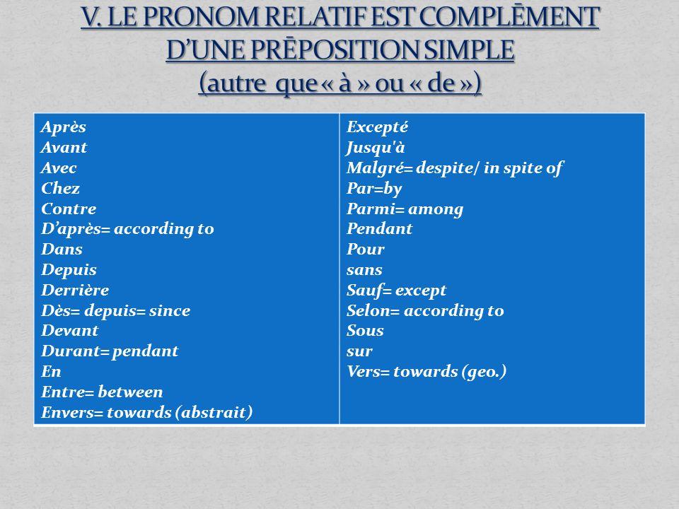 Après Avant Avec Chez Contre Daprès= according to Dans Depuis Derrière Dès= depuis= since Devant Durant= pendant En Entre= between Envers= towards (ab
