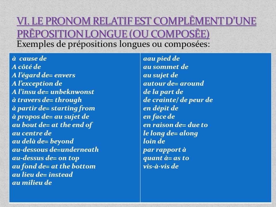 Exemples de prépositions longues ou composées: à cause de A côté de A légard de= envers A lexception de A linsu de= unbeknwonst à travers de= through