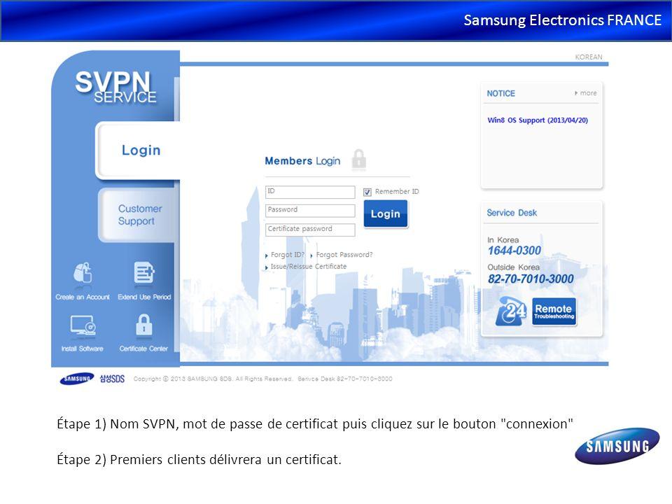 Samsung Electronics FRANCE Étape 1) Nom SVPN, mot de passe de certificat puis cliquez sur le bouton