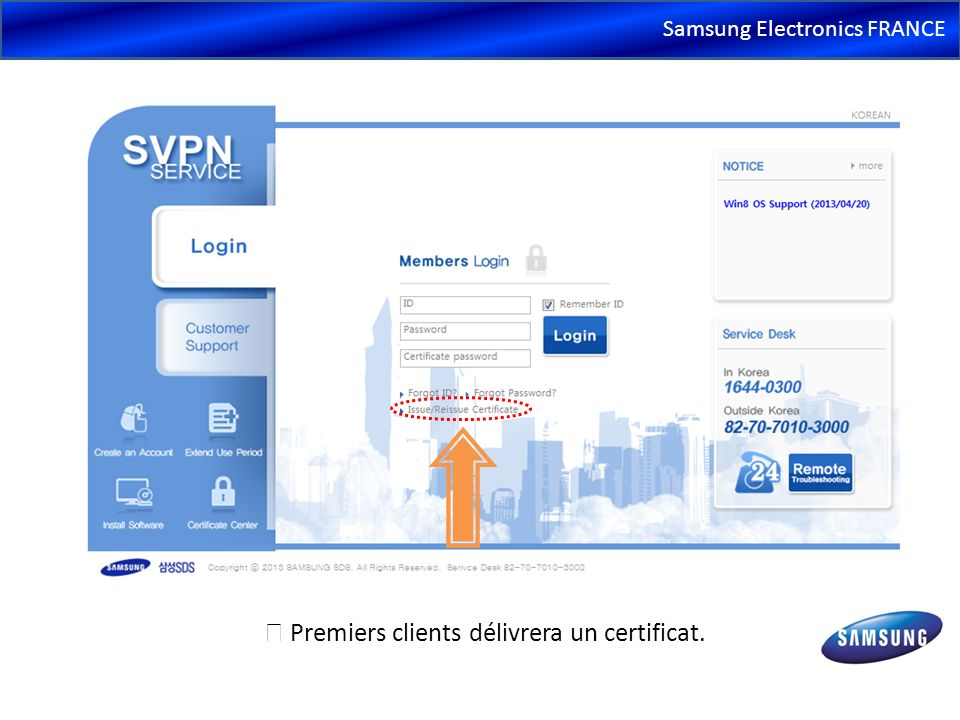 Samsung Electronics FRANCE SVPN rattrape les installations si manquantes Installation automatique de programmesliés aux services après que l utilisateur est authentifié