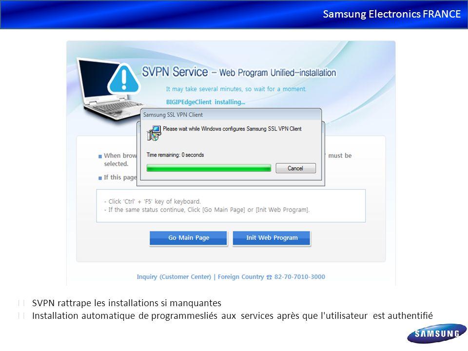 Samsung Electronics FRANCE SVPN rattrape les installations si manquantes Installation automatique de programmesliés aux services après que l'utilisate