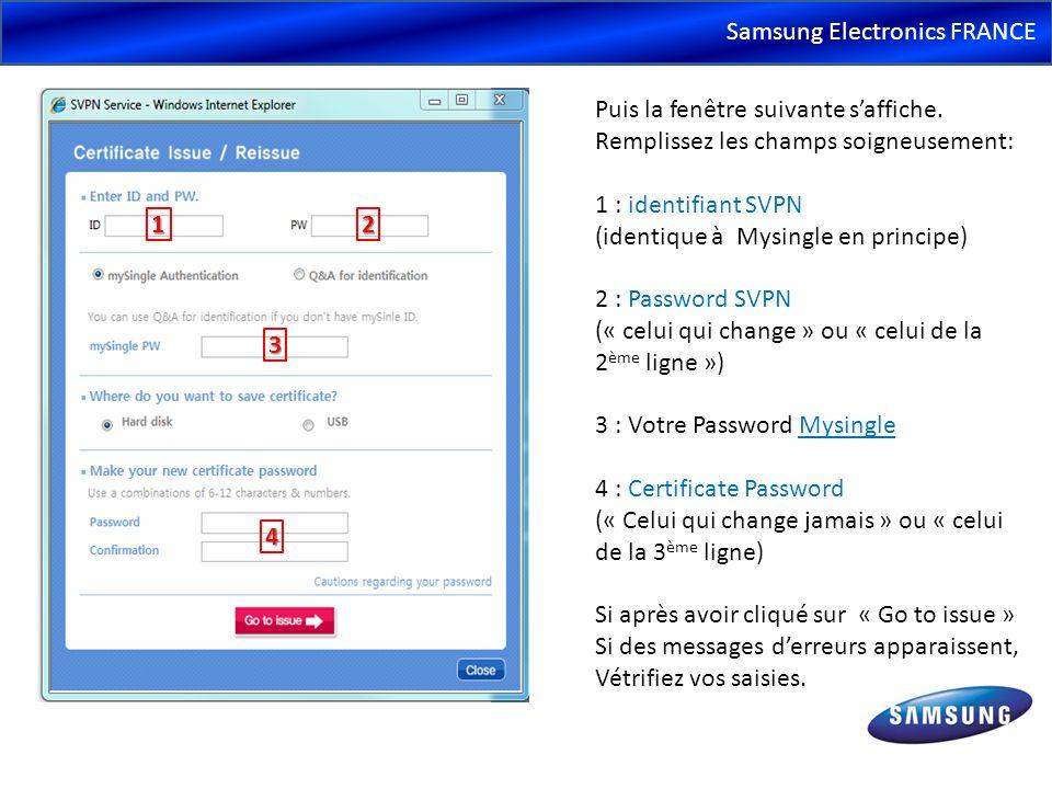 Samsung Electronics FRANCE Puis la fenêtre suivante saffiche. Remplissez les champs soigneusement: 1 : identifiant SVPN (identique à Mysingle en princ