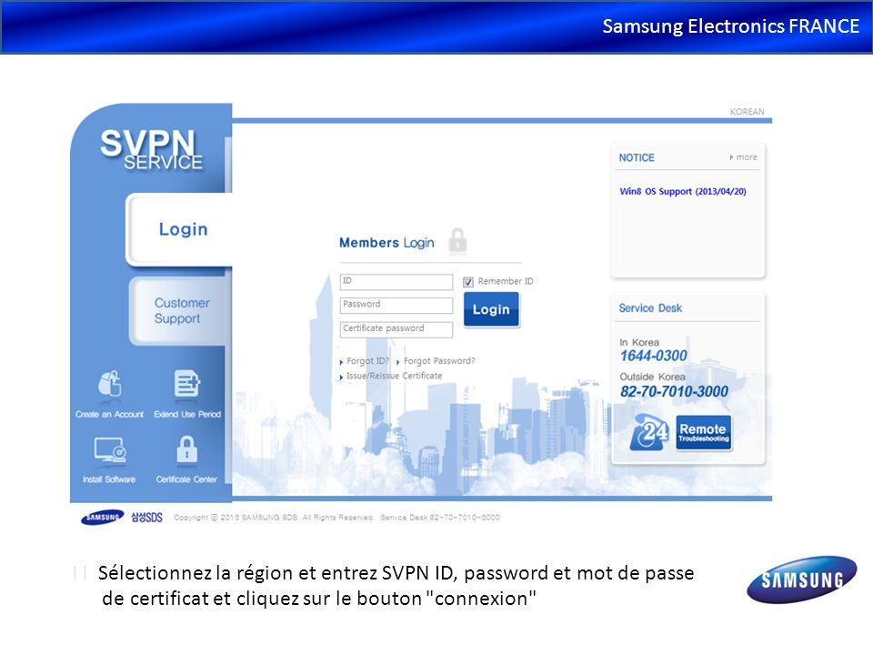 Samsung Electronics FRANCE Sélectionnez la région et entrez SVPN ID, password et mot de passe de certificat et cliquez sur le bouton