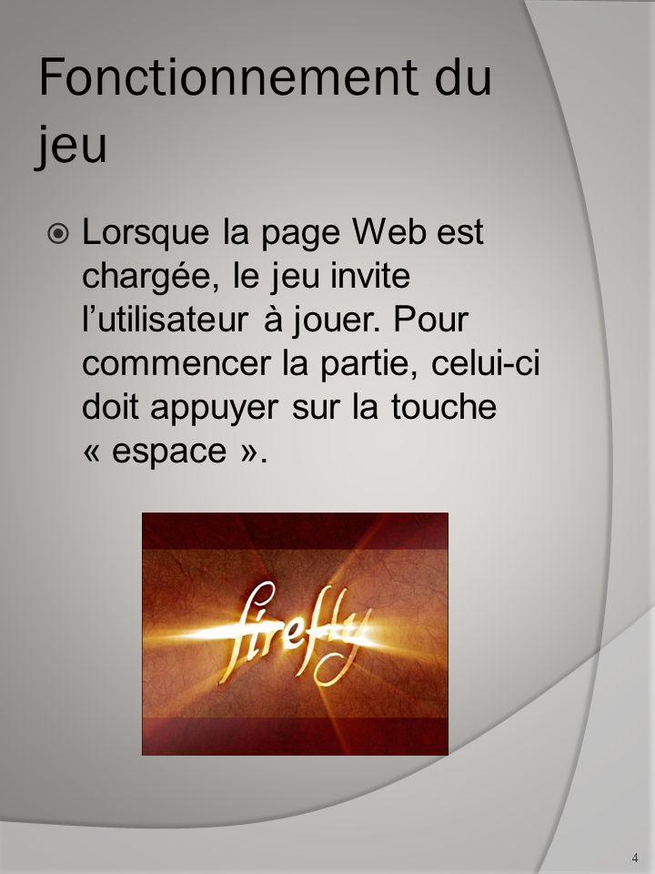 Fonctionnement du jeu Lorsque la page Web est chargée, le jeu invite lutilisateur à jouer.