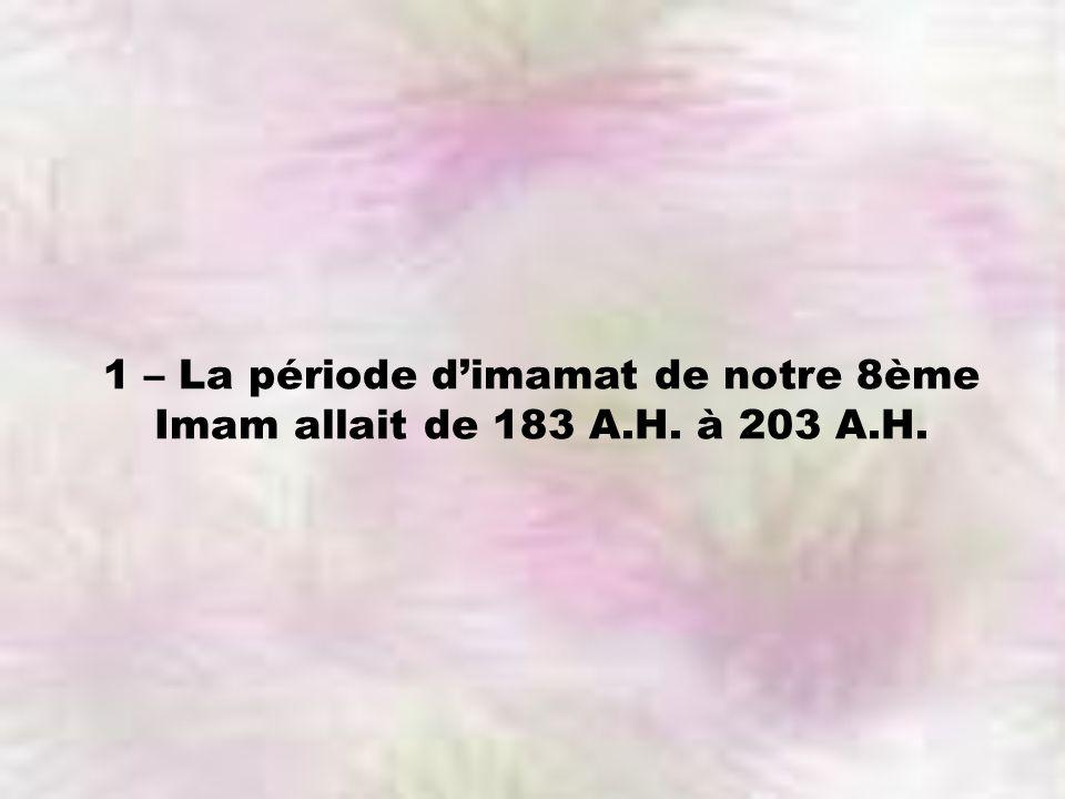 1 – La période dimamat de notre 8ème Imam allait de 183 A.H. à 203 A.H.