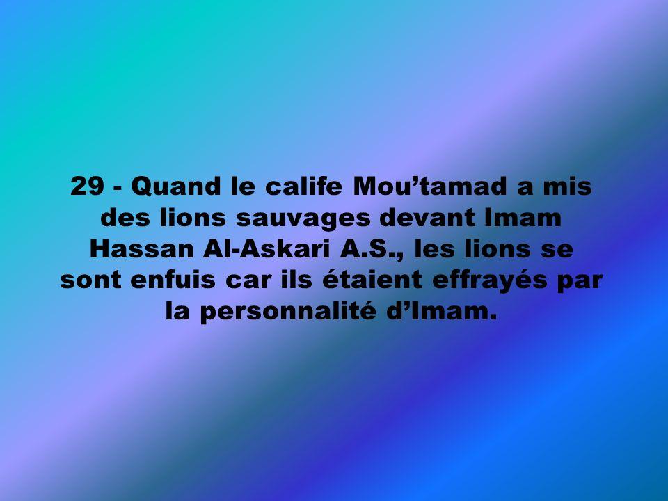 29 - Quand le calife Moutamad a mis des lions sauvages devant Imam Hassan Al-Askari A.S., les lions se sont enfuis car ils étaient effrayés par la per