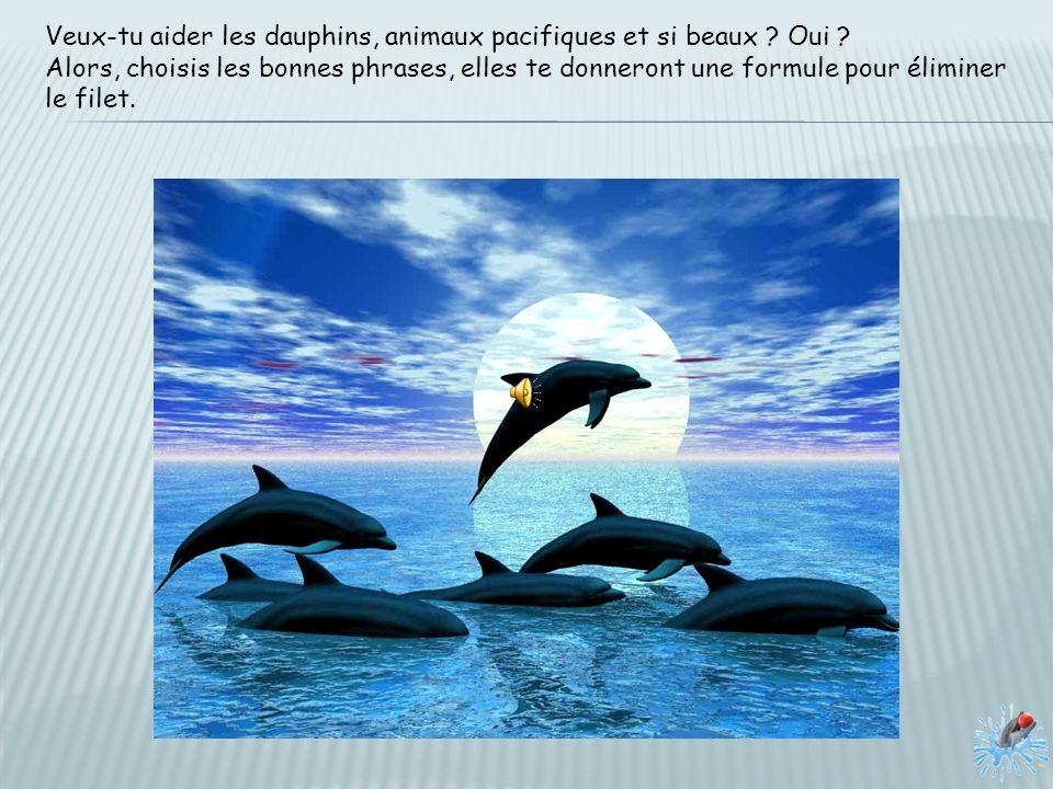 Veux-tu aider les dauphins, animaux pacifiques et si beaux .