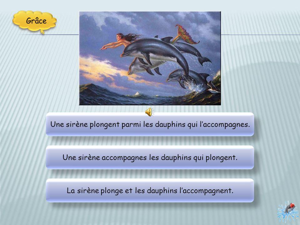 Une sirène plongent parmi les dauphins qui laccompagnes.