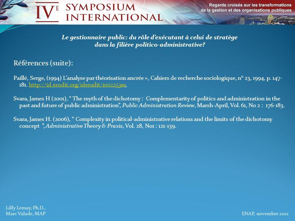Lilly Lemay, Ph.D., Marc Valade, MAP ENAP, novembre 2012 Le gestionnaire public: du rôle dexécutant à celui de stratège dans la filière politico-admin
