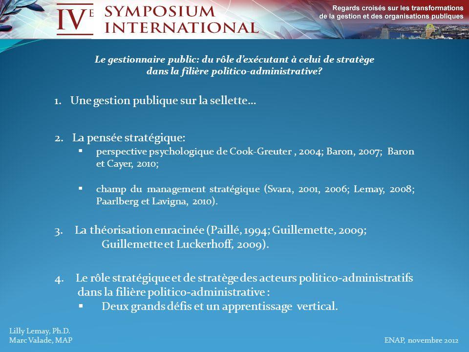 Lilly Lemay, Ph.D. Marc Valade, MAP ENAP, novembre 2012 Le gestionnaire public: du rôle dexécutant à celui de stratège dans la filière politico-admini