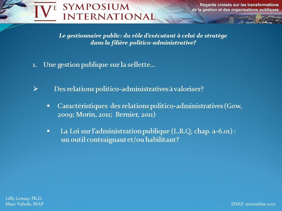 Lilly Lemay, Ph.D., Marc Valade, MAP ENAP, novembre 2012 Le gestionnaire public: du rôle dexécutant à celui de stratège dans la filière politico-administrative.