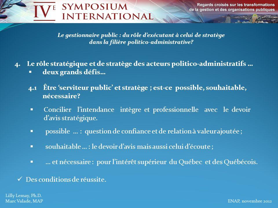 Lilly Lemay, Ph.D. Marc Valade, MAP ENAP, novembre 2012 Le gestionnaire public : du rôle dexécutant à celui de stratège dans la filière politico-admin
