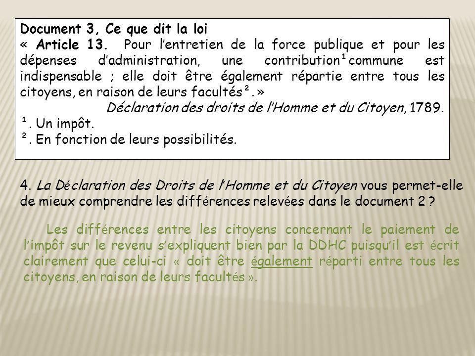 Document 3, Ce que dit la loi « Article 13. Pour lentretien de la force publique et pour les dépenses dadministration, une contribution¹commune est in