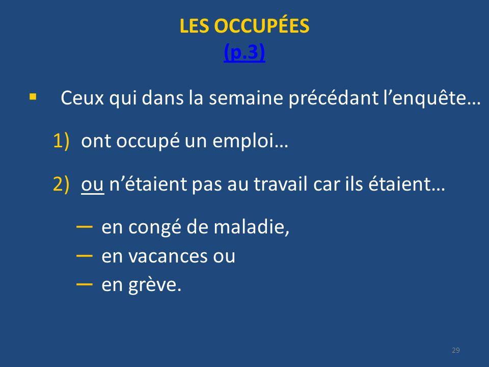29 LES OCCUPÉES (p.3) (p.3) Ceux qui dans la semaine précédant lenquête… 1)ont occupé un emploi… 2)ou nétaient pas au travail car ils étaient… en cong