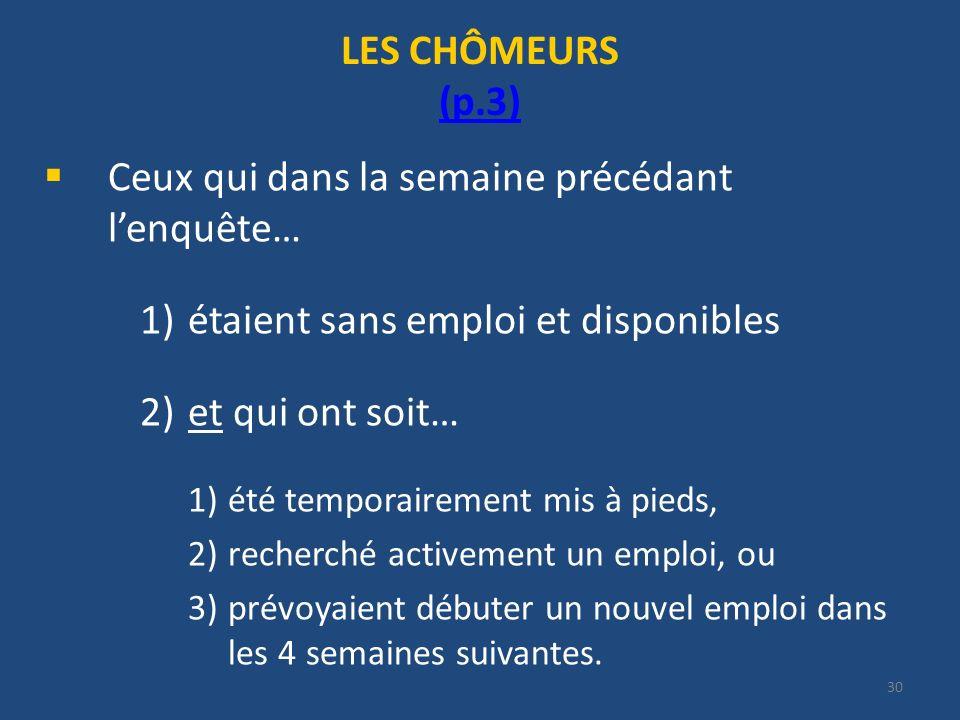 30 LES CHÔMEURS (p.3) (p.3) Ceux qui dans la semaine précédant lenquête… 1)étaient sans emploi et disponibles 2)et qui ont soit… 1)été temporairement