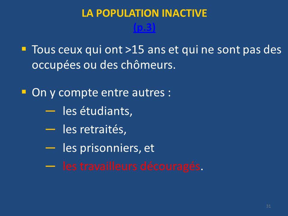 31 LA POPULATION INACTIVE (p.3) (p.3) Tous ceux qui ont >15 ans et qui ne sont pas des occupées ou des chômeurs. On y compte entre autres : les étudia