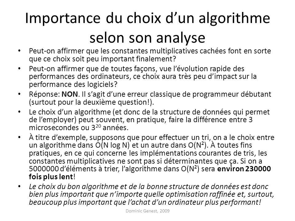 Importance du choix dun algorithme selon son analyse Peut-on affirmer que les constantes multiplicatives cachées font en sorte que ce choix soit peu important finalement.