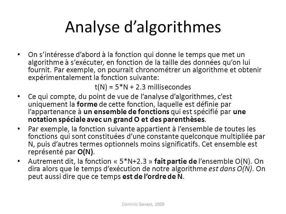Analyse dalgorithmes On sintéresse dabord à la fonction qui donne le temps que met un algorithme à sexécuter, en fonction de la taille des données quon lui fournit.
